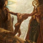 Painting by Jean Delville depicting a figure using strength to push apart symbols of institutional religion to reach the unconditioned light of the Divine